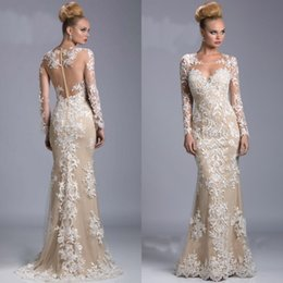 Wholesale Janique Long Sleeves Gown - 2015 Elegant Evening Gowns Sexy Janique Mother Dresses Mermaid Lace Appliques Prom Dress with Sheer Neck Illusion Long Sleeves Weddding