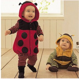 Wholesale Ladybird Clothes - Baby Ladybird&Bee Romper Bodysuits Baby Boys Long Sleeve Stripe Thicken Warmth Jumpsuit Toddler One-Piece Infants Babies Clothing Clothes
