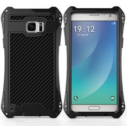 Wholesale Gorilla Waterproof Case - Black Waterproof Shockproof Aluminum Gorilla Glass Metal Cover Case for Samsung Note5 Gold Silver White Red cases