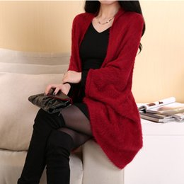 Wholesale Women Chinese Clothing Free Shipping - 6027 free shipping 2018 autumn winter women new fashion clothing 4 colors plus size warm sweater cardigans ladies knitted coats