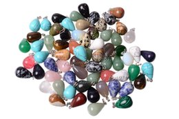 Wholesale Drop Loose Beads - Wholesale Lots Jewelry Drop Natural Assorted gemstone Stone mixed Pendants Loose Beads Fit Bracelets and Necklace Charms DIY #Bead0151