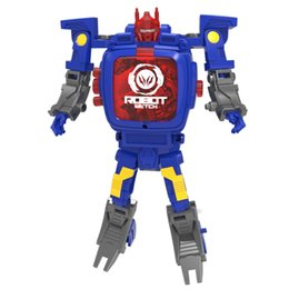 Wholesale Robot Optimus Prime - Kids' Cartoon Watches of Optimus Prime Transformer Toys Manual Digital Flip Wristwatches Bumble bee for Childrens Birthday Gifts