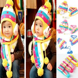 Wholesale Strawberry Scarves - Winter Lovely Kids Girls Knitting Hat Baby Earmuffs Rabbit strawberry cap+scarf