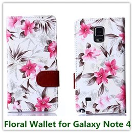 Wholesale Silicone Cellphone Bag - 10PCS Elegant Floral Flower PU Leather Pouch Wallet Silicone Soft Cover inner Case for Samsung Galaxy Note 4 N9100 Cellphone Bag Free