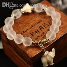 Wholesale Crystal Elephant Cuff Bracelet - Wholesale-2015 fashion Natural frosted crystal bracelet little cute elephant pendant high quality Natural Stone beaded bracelet XY-B27