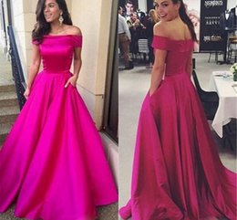 Wholesale Cheap Bright Red Sexy Dresses - Bright Fuchisa A Line Evening Dresses with Pockets Simple Satin Bateau Prom Dresses Cheap Plus Size Long Red Carpet Gowns 2018