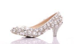 Wholesale Elegant Prom Heels - Shiny Crystal Wedding Shoes Beautiful Bride Wedding Dress Shoes Pointed Toe Pumps Elegant Lady Party Prom Shoes