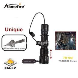 Wholesale Gun Mounted Flashlight - TK104 L2 LED Tactical Gun Flashlight 2200LM 5 mode Pistol Handgun Torch Light Lamp Taschenlampe+gun scope mount+remote switch