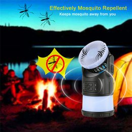 Wholesale Mosquito Repellent Lamp Wholesale - New Camping Lantern Tent Light Lamp with Fan FM Radio Mosquito Repellent Rechargeable Flashlight for Fishing Hiking and Emergency wholesale