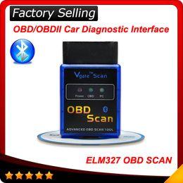 Wholesale Torque Obd2 Mini Android - Super Mini ELM327 Bluetooth V2.1 OBDII Auto Scanner Mini327 OBD2 Car Diagnostic Tool ELM 327 works on Android Torque free shipping
