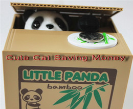Wholesale Panda Birthday - New Cute Creative Electric Money Cans Stealing Money Cat Saving Box Children Toys Money Cats Panda Gifts For Children Birthday