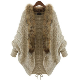 Wholesale Loose Knit Crochet Poncho - Winter Women Loose Fur Collar Sweater Batwing Sleeve Knit Cardigan Jacket Coat Casual Thick Warm Fashion All Match Poncho Sweaters 10pcs lot