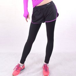 Wholesale Women Skirt Pant Leggings - Women Workout Sports Leggings With Shorts Skirt Trousers Space Clothes Sport Lulu Clothing Slim Fitness Running Pants For Gym