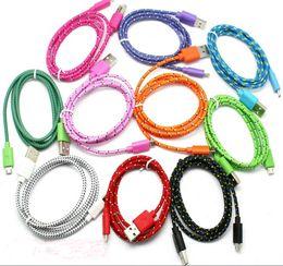 tela nylon cable v8 trenzado Rebajas Cables de colores Tela Trenzada V8 Adaptador de cable de cargador Micro USB 1M 3FT 2M 6FT 3M 10FT Sincronización de datos Línea de nylon para Samsung xiaomi htc