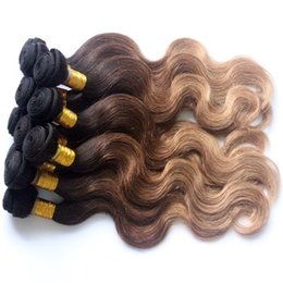 Wholesale 1b 33 Weave - 1B 33 27 Three-tone Malaysian Virgin Hair Bundles without Clip In Body Wave Weft Weave Extensions,Fashion Ombre Body Wave Human Hair Weaving