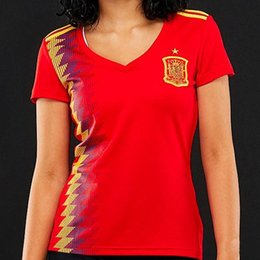 Wholesale Girl Female - Women 2018 Spain Home World cup Asensio MORATA ISCO RAMOS Female Soccer Jerseys 2018 2019 Spain Girls PIQUE SILVA FABREGAS Football Shirts