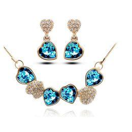 Wholesale Cheap Indian Bridal Jewelry Sets - Rhinestone Jewelry for Women Luxury Heart Design Crystal Bridal Jewelry Sets Cheap Party Necklace and Earring Set 5188