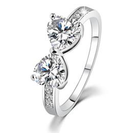 Wholesale Wholesale Costume Diamond Jewelry - Wedding Rings Women China Wholesale Korean Fashion Costume Jewelry Cubic Zirconia Rhinestone CZ Rings Heart Australian Crystal Diamond Rings