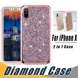 Wholesale Diamond Rhinestones - 2 in 1 Luxury Premium Commuter Case Bling Diamond Rhinestone Glitter Cases Cover For iPhone X 8 7 6 6S Plus Samsung S8 S9 Plus note 8