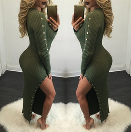Wholesale Dressing Up Clothes - Autumn Knitted Women Dresses Long Sexy Bodycon Dress Buttons Split Up Clothing Dressing