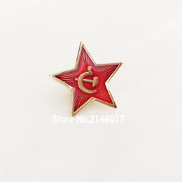 Wholesale Union Pins - 10pcs Russia Red Star Hammer Sickle Logo Lapel Pins Brooch Communism Soviet Union Ussr Pin Cold War Souvenir Badge 20mm