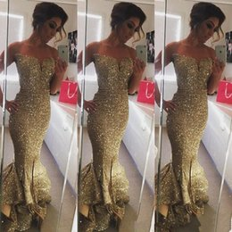 Wholesale Sweetheart Floor Mermaid - 2016 Sexy Sweetheart Sparkling Sequined Ruffles Gold Mermaid Prom Dresses Sweep Train Split Side Long Formal Evening Gowns Custom made