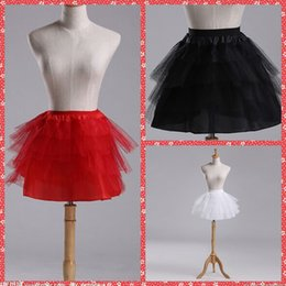 Wholesale Knee Length Red Petticoat - Wholesale Short Petticoats For Bridal Gowns Knee-Length Red White Black Underskirt Tutu Gowns Without Hoops Crinoline Ball Gown Petticoat