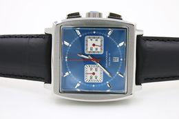 Wholesale Black Leather Bracelet Men Watch - hot shop luxury brand watches men mo24 blue dial black leather belt original bracelet watch quartz chronograph watch mens dress watches