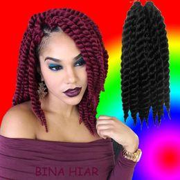 Wholesale 2x 12 - 2x havana mambo crochet rope twist braids 100% kanekalon fiber 12inches crotchet senegalese braids 3packs lot free shipping