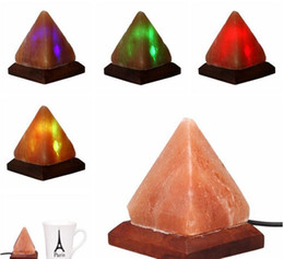 Wholesale Desk Ornament - Salt Lamp Table Desk Lamp Night Light Pyramid Crystal Rock Wooden Lamp Bedroom Adornment Home Room Decor Crafts Ornaments Gift LLFA
