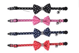 Wholesale Pink Blue Dog Collar - Free Shipping! Wholesale Breakaway Polka Dot Cotton Fabric Puppy Small Dog Cat Collar with Rhinestone Bow Tie