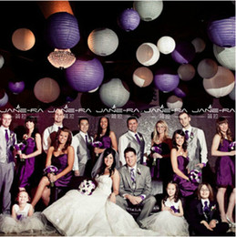 Wholesale Violet Stand - 30Pcs Lot 20cm 8inch Round Paper Lantern Light Lampshade for Christmas Festival Wedding Party Decoration