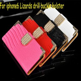 Wholesale Leather Cellphone Holsters Iphone - Case Lizards Drill Buckle Holster for iPhone 6 4.7 inch Diamond-encrusted iPhone6 Plus 5.5 inch Cellphone Cover Cases 5 Colors