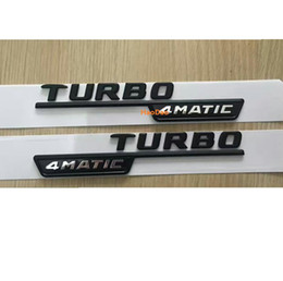 Placa turbo online-TURBO negro 4MATIC letras Trunk Emblem Badge etiqueta para Mercedes Benz AMG