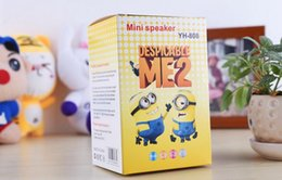 Wholesale Mp3 Cute Cartoon - Cartoon Cute Despicable Me 2 Mini Portable Speaker Minions MP3 Music Player Amplifier Hifi Speakers Subwoofer With TF Card USB Disk FM Radio