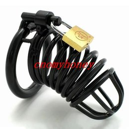 Wholesale Wholesale Male Chastity Device - Black stainless steel lockable dildo bondage cock cage penis ring cage, dildo cage rings, sex toys for men,male chastity devices 30pcs lot