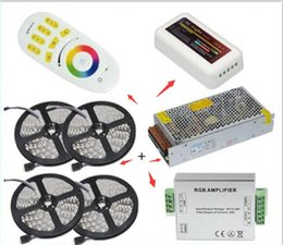 Wholesale Rgb Strip Lighting Amplifier - DHL ship 20M 5050 RGB LED Strip Light 60Leds M Flexible Led Ribbon Tape + Wireless Touch Remote Controller+24A Amplifier+20 A Power