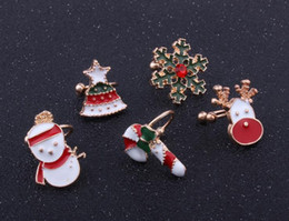 Wholesale Indian Ear Cuffs - Christmas presents Travel memorial fashion style festival cartoon and lovely Santa bell Claus ear-decorated Christmas tree lake ear clip