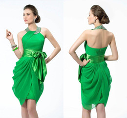 Wholesale Christmas Bandage Dress - 2015 Green Short Cocktail Dresses Unique Style Sheath Halter Backless Ruffles Beaded Crystals with Sash Formal Christmas Homecoming Gowns