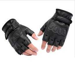 Wholesale Mens Black Gloves Fingerless - 2015 New Listing Mens PU Leather Half-Finger Gloves Cycling Glove Anti-Static Slip Damping cycling glove Synthetic Leather