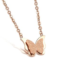 Wholesale Gold Butterfly Pendant Necklace - Rose Gold Plated Tiny Butterfly Necklace in Stainless Steel 12.7x11.7mm