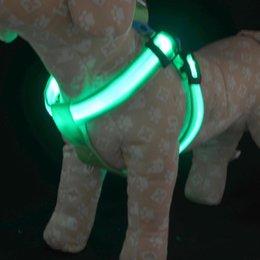 Wholesale Luminous Dog Harness - new 100pcs lots factory direct wire mesh pet dog harness with a luminous LED light flash strap harness leash 1113#13