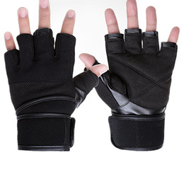 Wholesale Fingerless Safety Gloves - Wholesale-Guantes Gym for men wrist extension training dumbbell weight-lifting gloves for fitness safety skid exercise equipment