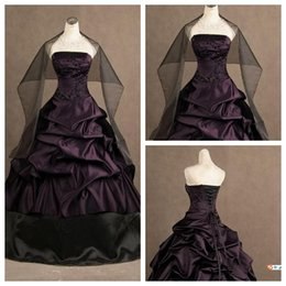 Wholesale Evening Dresses Actual Images - 2015 Ball Gown Actual Image Purple And Black Strapless Embroidery Gothic Ruffles Wedding Dresses Long Party Evening Gowns With Free Wrap