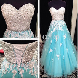 Wholesale Beaded Sash Pattern - Mint Green Prom Dresses Sweetheart Full Beading Pearls Crystal Lace Evening Dresses 2016 Lace Up Appliqued Floor Length Formal Dresses BA230