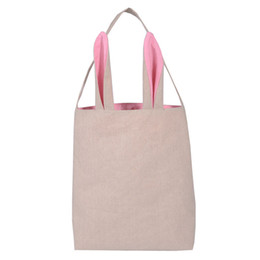 Wholesale Wholesale Canvas Wraps - Easter Bunny Bag celebration gifts easter hare cotton canvas handbags shopping bag easter gift