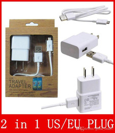 Wholesale Usb Data Cable Kits - 2 in 1 charger kits 2A 2000mA US EU plug Home Wall Charger USB Adapter + MICRO USB DATA CELL PHONE CABLE for SAMSUNG GALAXY S3 s4 note 2
