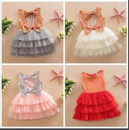 2020 roupas de lantejoulas para meninas 5 cores Moda Infantil Roupas de Verão Da Criança Do Bebê Menina Linda Arcos de Ouro Vestido de Lantejoulas Crianças Menina Lantejoulas Festa Bolo Vestido 2-7A desconto roupas de lantejoulas para meninas