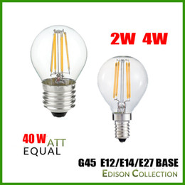 Wholesale E27 Dimmable Ball - DHL Free 2W 4W E27 E12 E14 G45 Dimmable LED Filament Bulb, 2700K,110V 220V ,Golf Ball Bulbs, 25-40W Incandescent Lamp Equivalent,