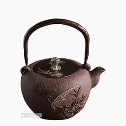 Wholesale Phoenix Teapot - Phoenix & Peony Japan Cast Iron Teapot Double Copper Handwork Kung Fu Tea Pot Kettle Drinkware 1.3L Cooking Tools Arts Crafts Gifts